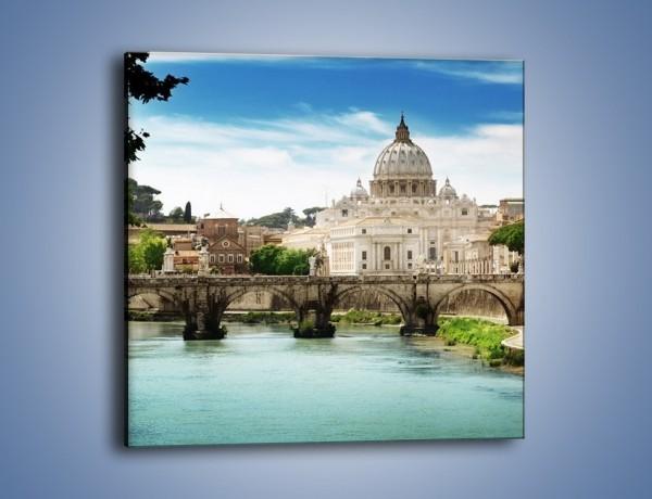 Obraz na płótnie – Rzeka Tyber na tle bazyliki – jednoczęściowy kwadratowy AM303