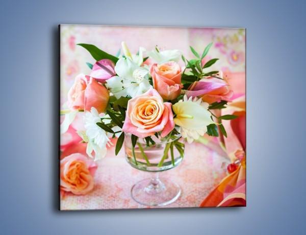 Obraz na płótnie – Kieliszek z kwiatuszkami – jednoczęściowy kwadratowy K948