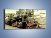 Obraz na płótnie – Stara lokomotywa na stacji – jednoczęściowy panoramiczny TM238