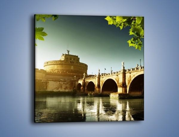Obraz na płótnie – Zamek św. Anioła o zachodzie słońca – jednoczęściowy kwadratowy AM309