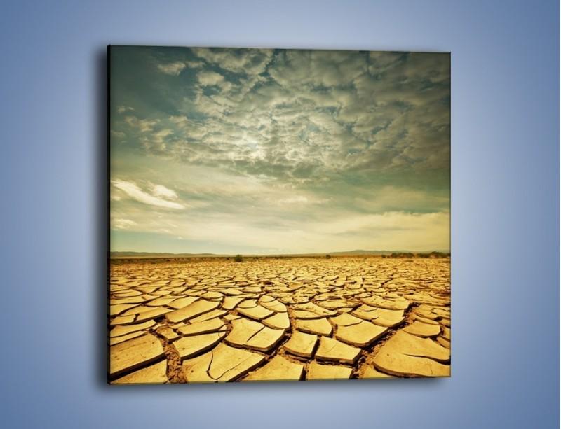 Obraz na płótnie – Ciemne chmury nad popękaną ziemią – jednoczęściowy kwadratowy KN025