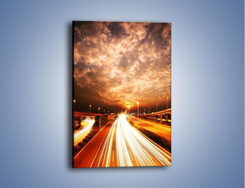 Obraz na płótnie – Oświetlona autostrada w ruchu – jednoczęściowy prostokątny pionowy AM021