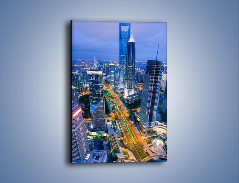 Obraz na płótnie – Oświetlone miasto wczesnym wieczorem – jednoczęściowy prostokątny pionowy AM026