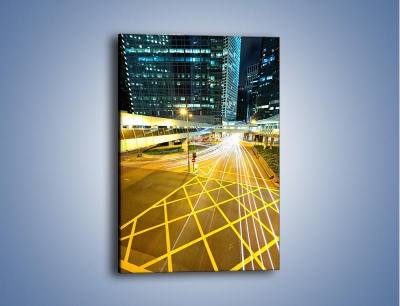 Obraz na płótnie – Droga na lotnisko w Japonii nocą – jednoczęściowy prostokątny pionowy AM090