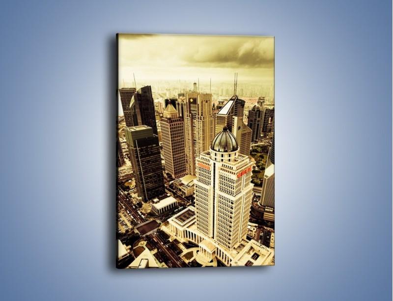 Obraz na płótnie – Drapacze chmur w centrum miasta – jednoczęściowy prostokątny pionowy AM126