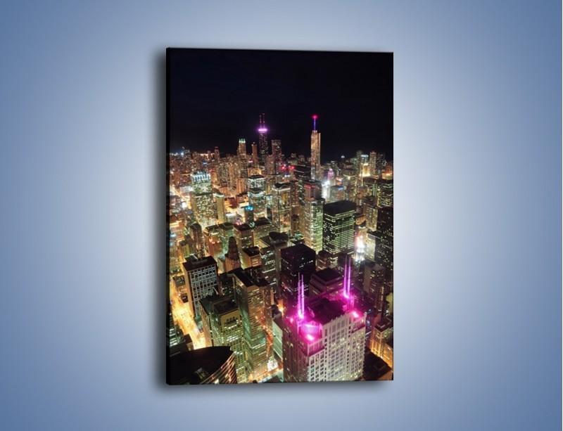 Obraz na płótnie – Miasto w sztucznym świetle wieżowców – jednoczęściowy prostokątny pionowy AM133