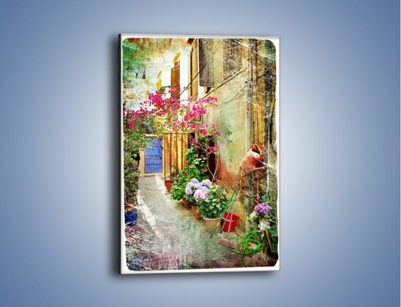 Obraz na płótnie – Uliczka pełna kwiatów vintage – jednoczęściowy prostokątny pionowy AM195