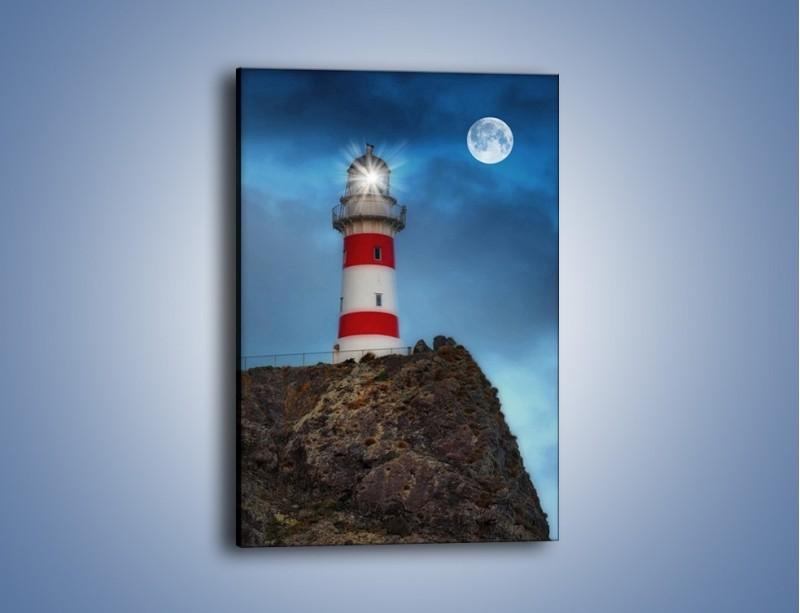 Obraz na płótnie – Latarnia morska pod pełnią księżyca – jednoczęściowy prostokątny pionowy AM199