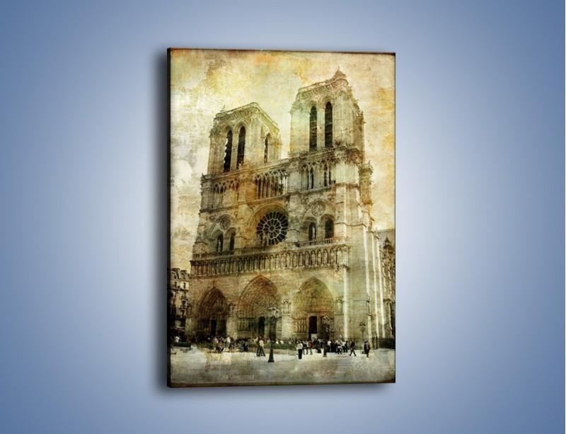 Obraz na płótnie – Katedra Notre-Dame w stylu vintage – jednoczęściowy prostokątny pionowy AM232
