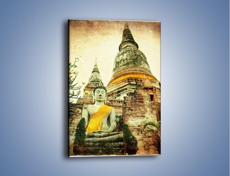 Obraz na płótnie – Tybetańska architektura w stylu vintage – jednoczęściowy prostokątny pionowy AM247