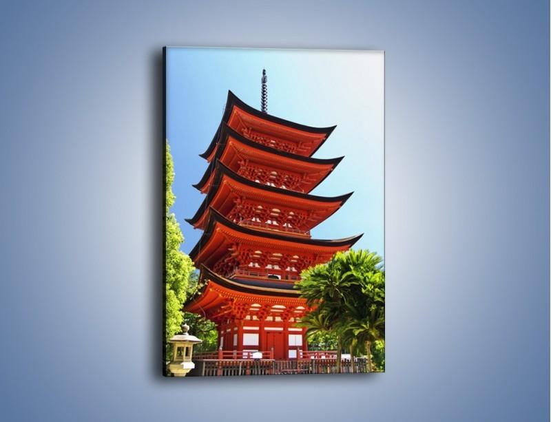Obraz na płótnie – Japońska architektura wśród drzew – jednoczęściowy prostokątny pionowy AM252