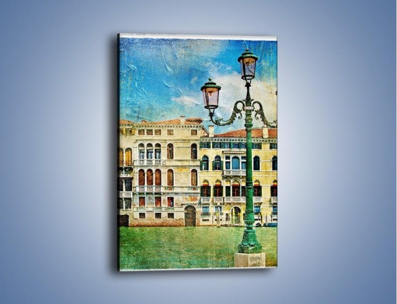 Obraz na płótnie – Lampa na tle weneckich domków vintage – jednoczęściowy prostokątny pionowy AM257