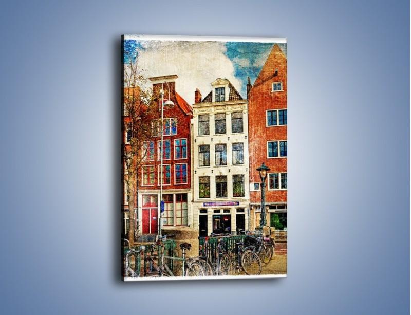 Obraz na płótnie – Amsterdam w stylu vintage – jednoczęściowy prostokątny pionowy AM258
