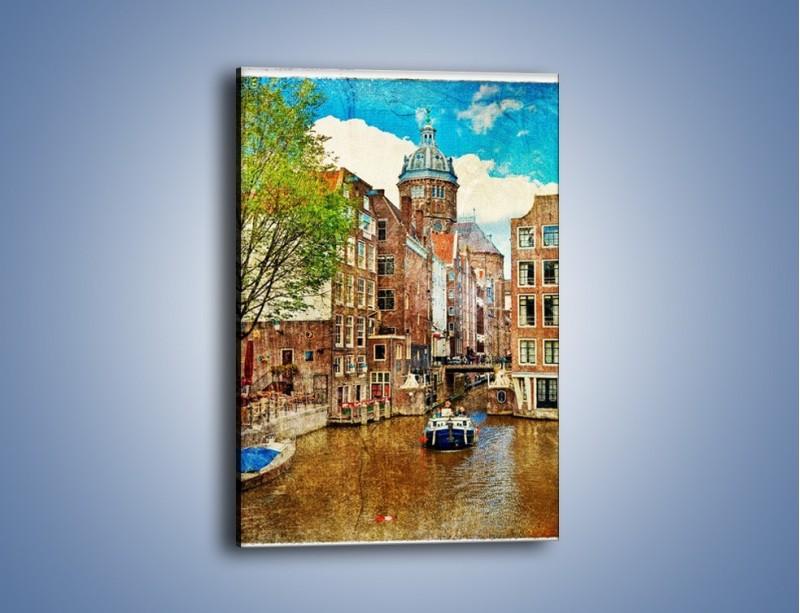 Obraz na płótnie – Kanał w Amsterdamie vintage – jednoczęściowy prostokątny pionowy AM259