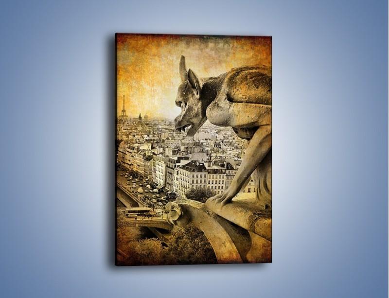 Obraz na płótnie – Paryski gargulec w stylu vintage – jednoczęściowy prostokątny pionowy AM260