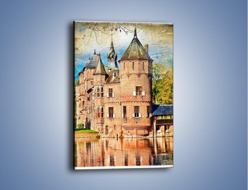 Obraz na płótnie – Zamek nad wodą w stylu vintage – jednoczęściowy prostokątny pionowy AM262