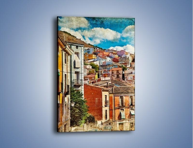 Obraz na płótnie – Kolorowe domki na wzgórzu vintage – jednoczęściowy prostokątny pionowy AM264