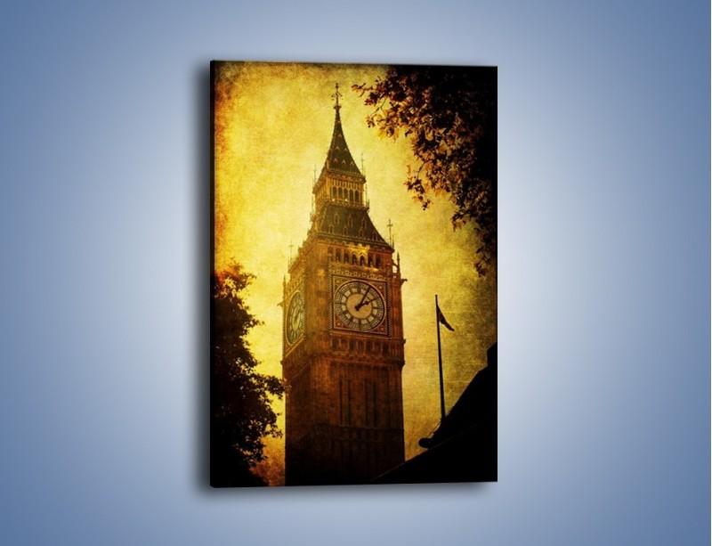 Obraz na płótnie – Big Ben w stylu vintage – jednoczęściowy prostokątny pionowy AM270