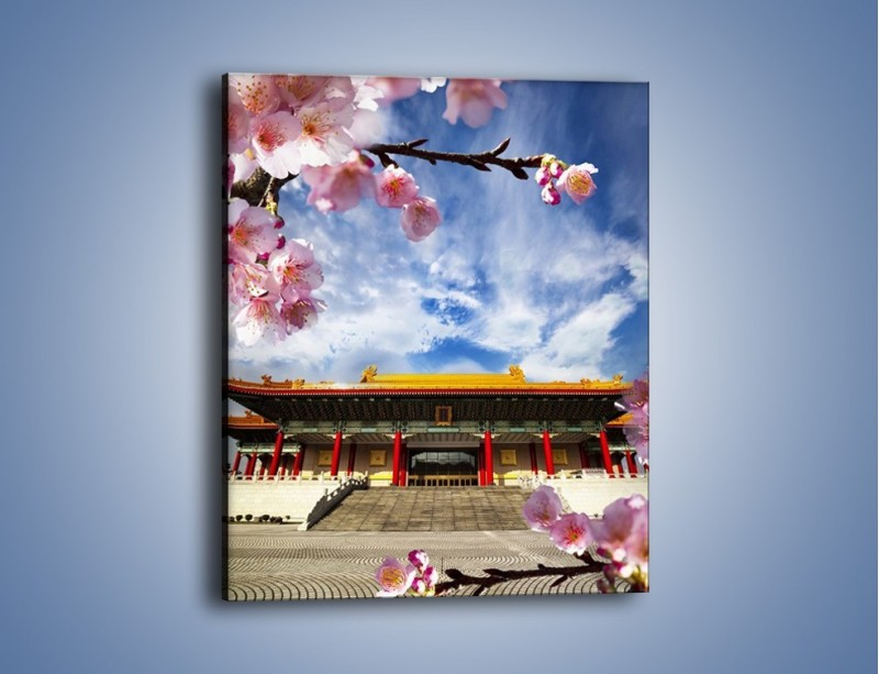 Obraz na płótnie – Azjatycka architektura z kwiatami – jednoczęściowy prostokątny pionowy AM298