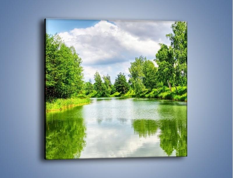 Obraz na płótnie – Spokojna woda i las – jednoczęściowy kwadratowy KN1086