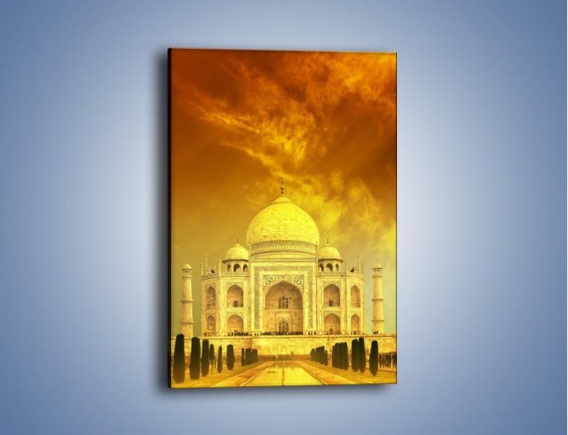 Obraz na płótnie – Tadź Mahal w żółtym kolorze – jednoczęściowy prostokątny pionowy AM465