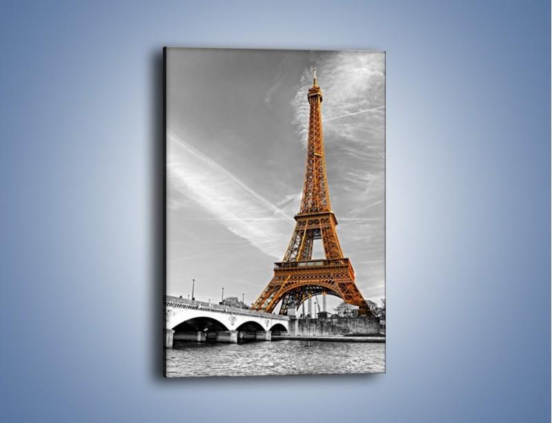 Obraz na płótnie – Wieża Eiffla na szarym tle – jednoczęściowy prostokątny pionowy AM467