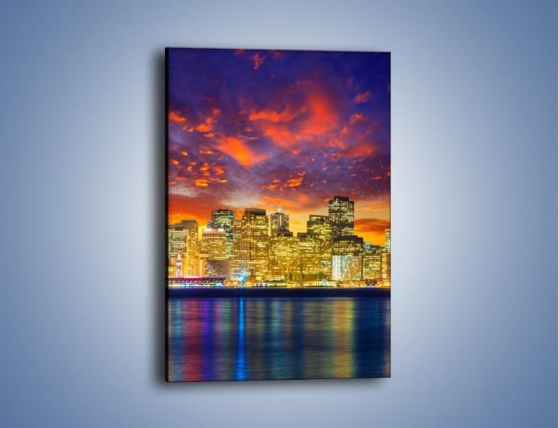 Obraz na płótnie – Wieżowce San Francisco nad wodą – jednoczęściowy prostokątny pionowy AM481