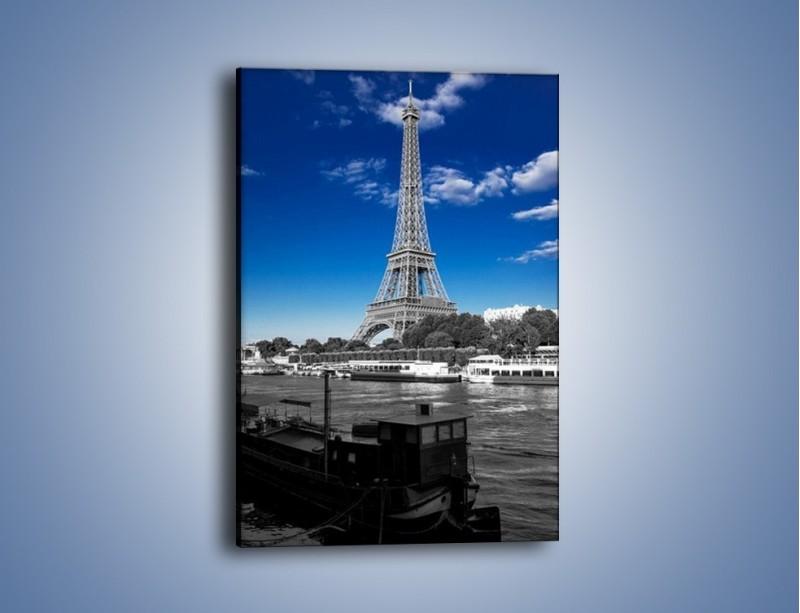 Obraz na płótnie – Wieża Eiffla w kolorze szarości – jednoczęściowy prostokątny pionowy AM497