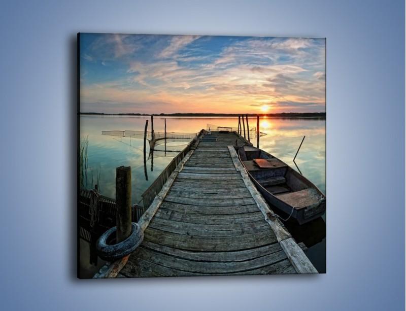 Obraz na płótnie – Stary most i łódź – jednoczęściowy kwadratowy KN1096A