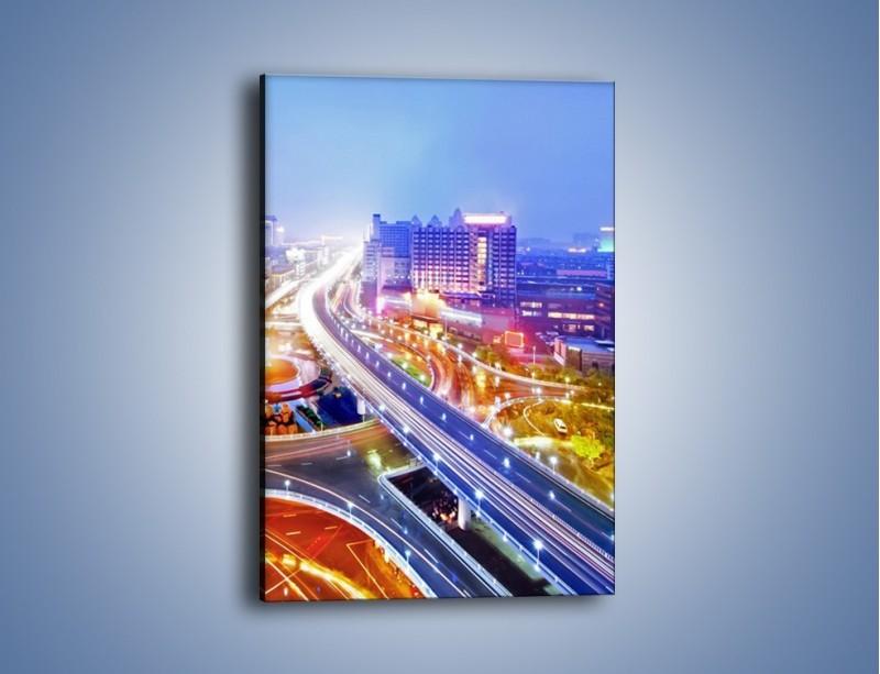 Obraz na płótnie – Rozświetlona miejska estakada – jednoczęściowy prostokątny pionowy AM729
