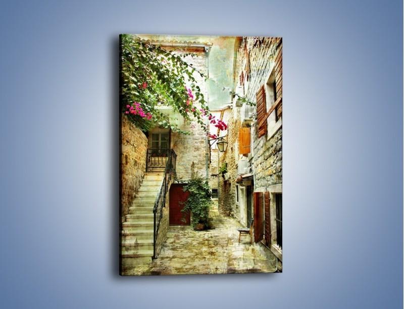 Obraz na płótnie – Dziedziniec w chorwackim miasteczku – jednoczęściowy prostokątny pionowy AM733
