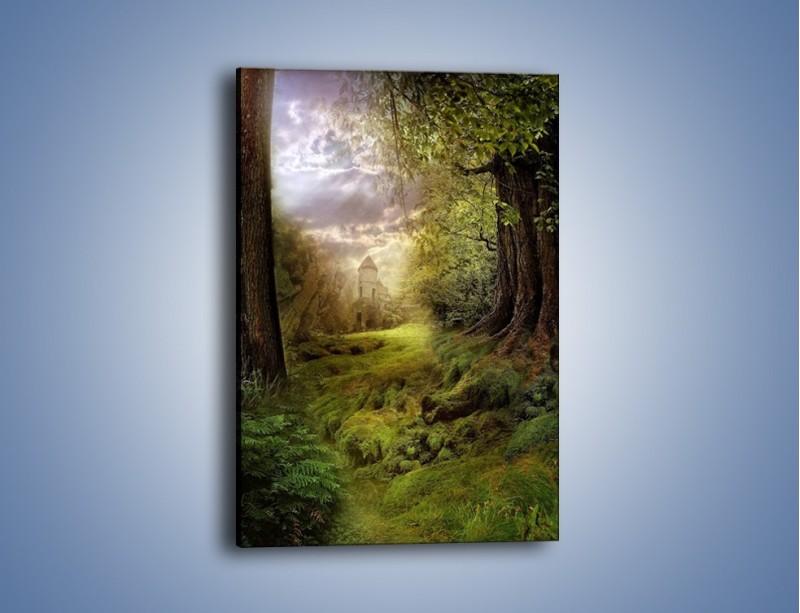 Obraz na płótnie – Zielona droga do zamku – jednoczęściowy prostokątny pionowy GR003