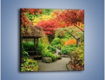 Obraz na płótnie – Alejka między kolorowymi drzewami – jednoczęściowy kwadratowy KN1113