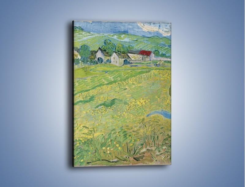 Obraz na płótnie – Łąka i małe domki – jednoczęściowy prostokątny pionowy GR105