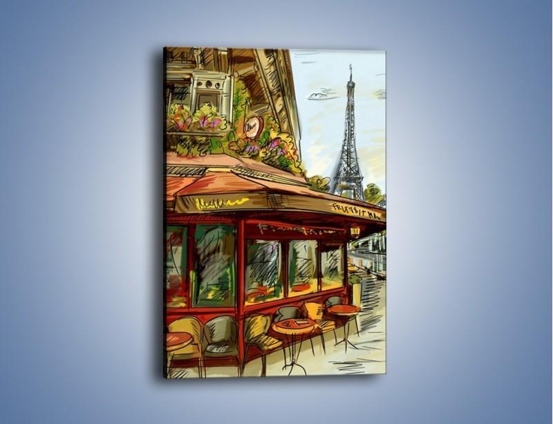 Obraz na płótnie – Paryskie kawiarenki pod daszkiem – jednoczęściowy prostokątny pionowy GR261