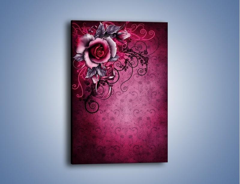 Obraz na płótnie – Róża i purpur – jednoczęściowy prostokątny pionowy GR272