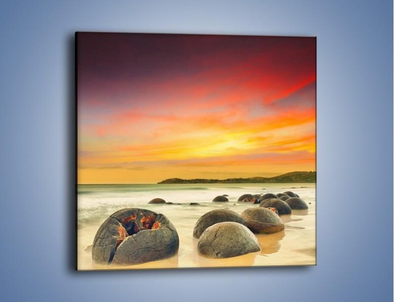 Obraz na płótnie – Popękane kamienne arbuzy – jednoczęściowy kwadratowy KN1125A