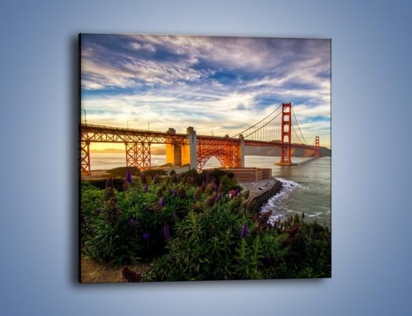 Obraz na płótnie – Most Golden Gate o zachodzie słońca – jednoczęściowy kwadratowy AM332