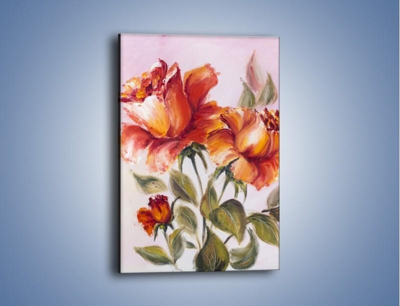 Obraz na płótnie – Kwiaty na płótnie malowane – jednoczęściowy prostokątny pionowy GR322