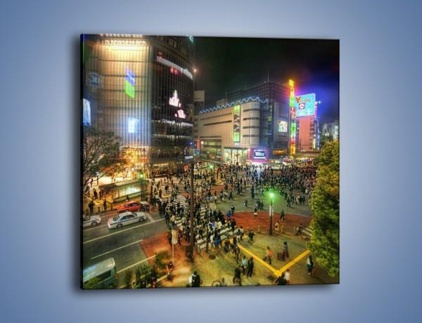 Obraz na płótnie – Zatłoczone ulice Toyko nocą – jednoczęściowy kwadratowy AM333