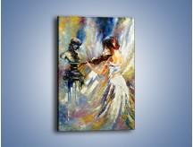 Obraz na płótnie – Biała dama i skrzypce – jednoczęściowy prostokątny pionowy GR368
