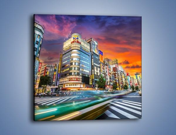 Obraz na płótnie – Tokyo na tle kolorowego nieba – jednoczęściowy kwadratowy AM336