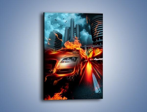 Obraz na płótnie – Ogień z rozpędzonego auta – jednoczęściowy prostokątny pionowy GR525