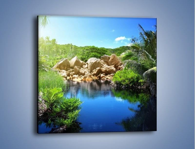 Obraz na płótnie – Wapienne skałki na wodzie – jednoczęściowy kwadratowy KN1188A