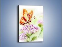 Obraz na płótnie – Kwiat z motylem – jednoczęściowy prostokątny pionowy GR625
