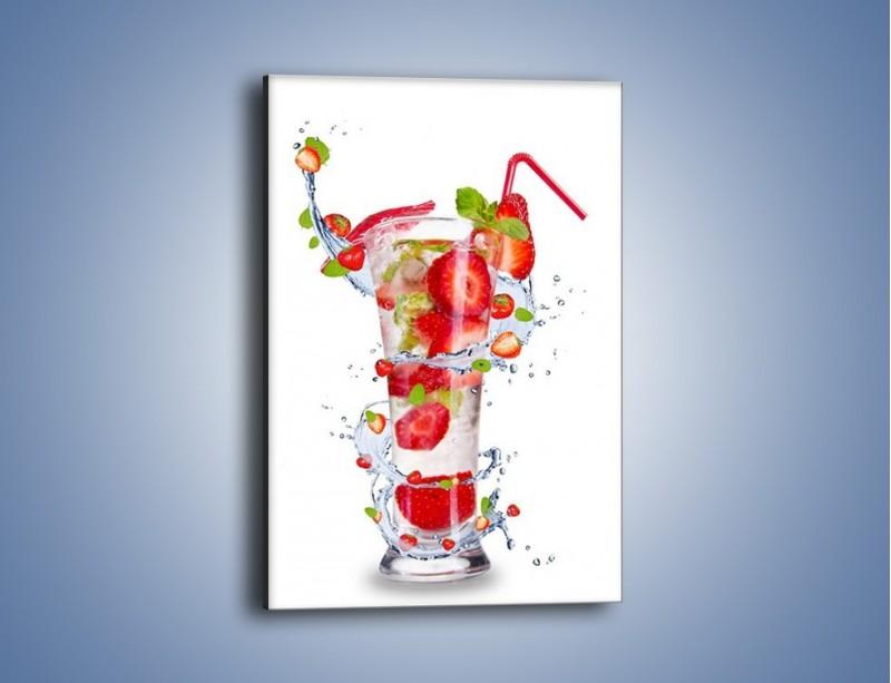 Obraz na płótnie – Truskawkowy shake z miętą – jednoczęściowy prostokątny pionowy JN001
