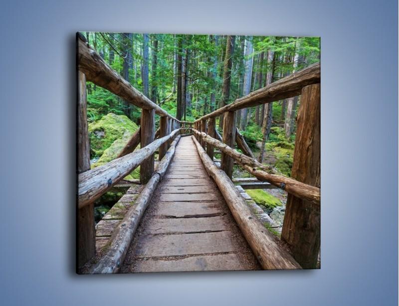 Obraz na płótnie – Mostek z drewnianych bali – jednoczęściowy kwadratowy KN1207A