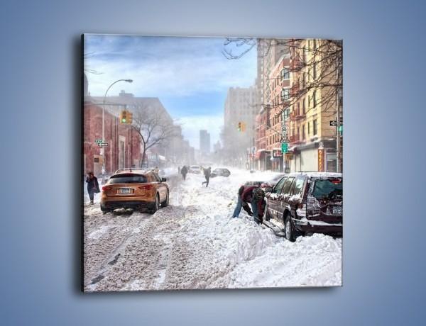 Obraz na płótnie – Zaśnieżone ulice miasta – jednoczęściowy kwadratowy AM342