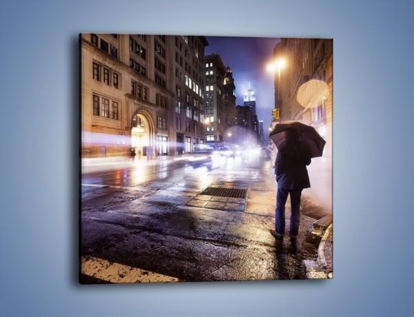 Obraz na płótnie – Deszczowa noc w Nowym Jorku – jednoczęściowy kwadratowy AM343