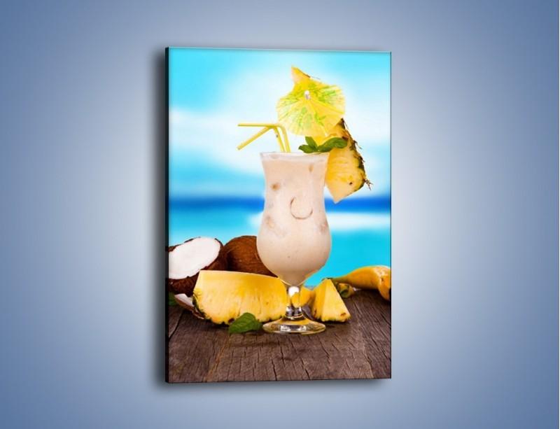 Obraz na płótnie – Kokosowy drink z ananasem – jednoczęściowy prostokątny pionowy JN394